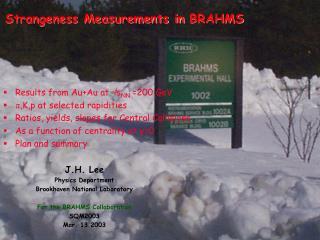 Strangeness Measurements in  BRAHMS