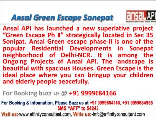 ansal api green escape phase ii sec 35 sonepat @ 09999684905