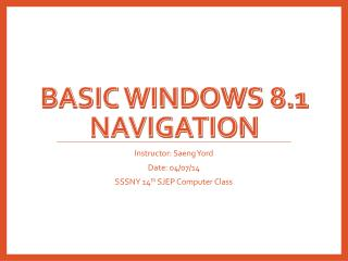 Basic windows 8.1 navigation