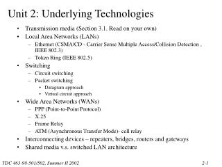 Transmission media Section 3.1. Read on your own Local Area Networks LANs Ethernet CSMA