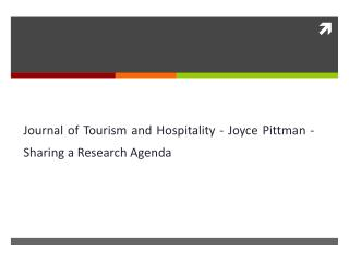 Journal of Tourism and Hospitality - Joyce Pittman - Sharing a Research Agenda