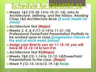 Schedule for QUARTER #2