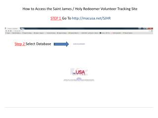 How to Access the Saint James / Holy Redeemer Volunteer Tracking Site