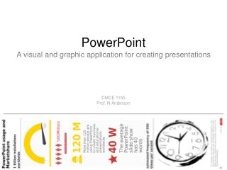 PowerPoint A visual and graphic application for creating presentations CMCE 1155 Prof. N Anderson