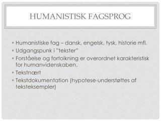 Humanistisk fagsprog