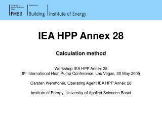 IEA HPP Annex 28  Calculation method