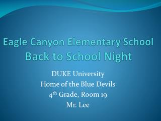 Eagle Canyon Elementary School Back to School Night