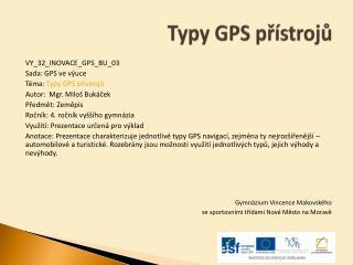 Typy GPS přístrojů