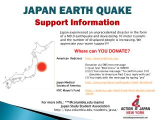 JAPAN EARTH QUAKE Support Information