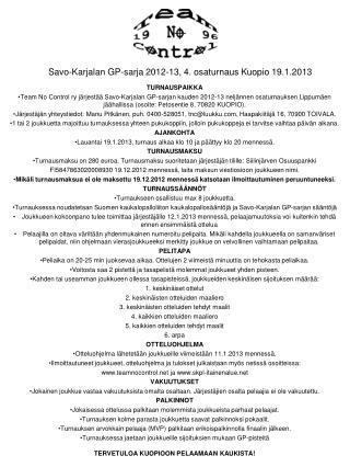 Savo-Karjalan GP-sarja 2012-13, 4. osaturnaus  Kuopio  19.1.2013