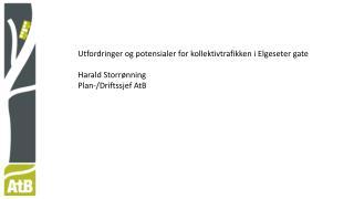 Utfordringer og potensialer for kollektivtrafikken i Elgeseter gate Harald Storrønning