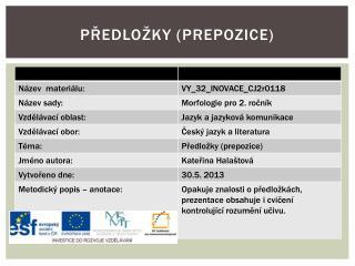 Předložky (Prepozice)
