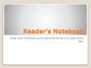 Reader�s Notebook