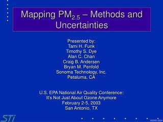 Mapping PM 2.5  – Methods and Uncertainties