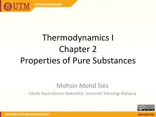 Thermodynamics I Chapter 2 Properties of Pure Substances