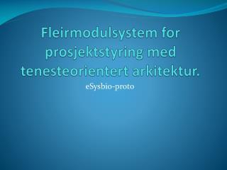 Fleirmodulsystem for prosjektstyring med tenesteorientert arkitektur.