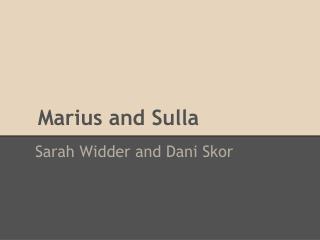 Marius and Sulla