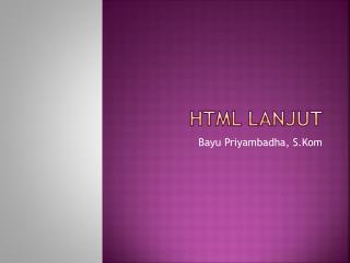HTML Lanjut