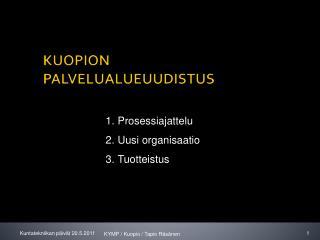 KUOPION PALVELUALUEUUDISTUS