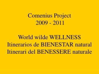 Comenius Project  2009 - 2011   World wilde WELLNESS Itinerarios de BIENESTAR natural Itinerari del BENESSERE naturale