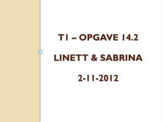 T1 – Opgave 14.2 Linett  & Sabrina 2-11-2012