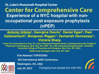 Experience of a NYC hospital with non-occupational post-exposure prophylaxis (nPEP)