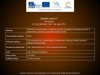 Systém savců 7 Přírodopis VY_32_INOVACE_355  -  18.  sada,  Př  5