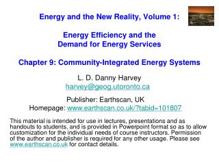 Energy and the New Reality, Volume 1:  Energy Efficiency and the  Demand for Energy Services   Chapter 9: Community-Inte