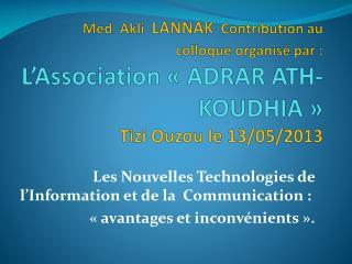 Les Nouvelles Technologies de l�Information et de la  Communication�:�