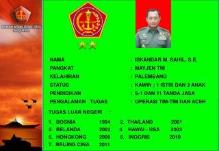 NAMA:  ISKANDAR M. SAHIL, S.E. PANGKAT:  MAYJEN TNI KELAHIRAN:  PALEMBANG