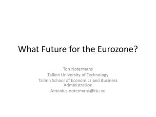 What Future for the Eurozone?