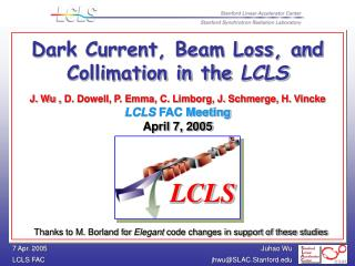 Dark Current, Beam Loss, and Collimation in the  LCLS