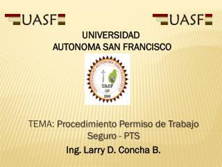TEMA:  Procedimiento Permiso de Trabajo Seguro -  PTS Ing. Larry D. Concha B.