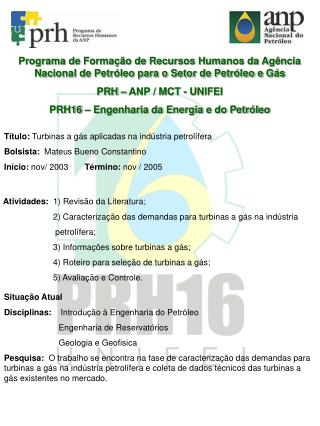 Programa de Forma  o de Recursos Humanos da Ag ncia Nacional de Petr leo para o Setor de Petr leo e G s PRH   ANP