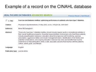 Example of a record on the CINAHL database