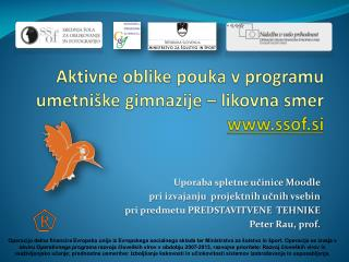Aktivne oblike pouka v programu umetniške gimnazije – likovna smer ssof.si