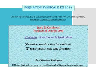 FORMATION SYNDICALE en 2014