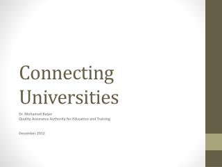 Connecting Universities