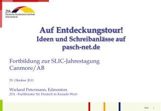 Auf Entdeckungstour!  Ideen und Schreibanlässe auf pasch-net.de