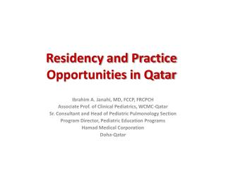 Residency and Practice Opportunities in Qatar
