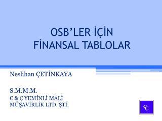 OSB'LER İÇİN FİNANSAL TABLOLAR