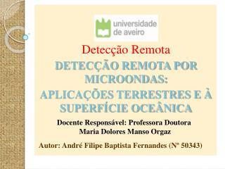 Detecção Remota DETECÇÃO REMOTA POR MICROONDAS: APLICAÇÕES TERRESTRES E À SUPERFÍCIE OCEÂNICA
