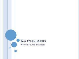 K-5 Standards