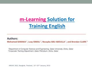 m-Learning Solution for  Training  English