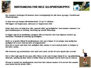 HØSTSAMLING FOR HELE ALLSPORTGRUPPEN