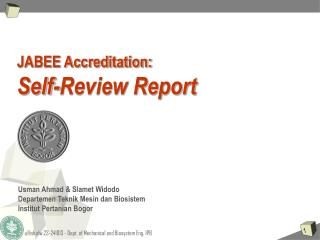 JABEE Accreditation: Self-Review Report
