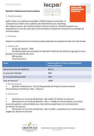 Bachelor  Professionnel Communication 1. Positionnement