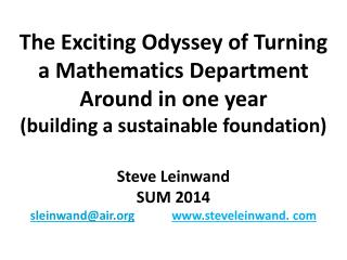 Steve  Leinwand SUM 2014 sleinwand@air steveleinwand. com