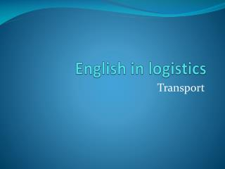 English in  logistics