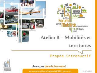 Atelier B – Mobilités et territoires